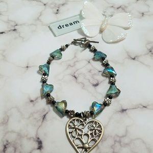 Faceted heart bracelet!